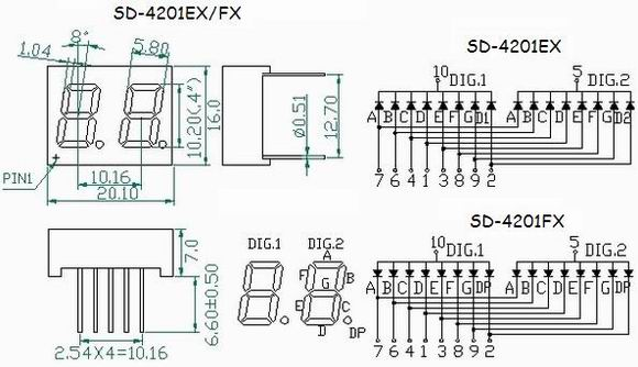 two digits led seven segment display  two digits 0 40 inch